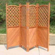 patio garden screen four panel wooden half latticed privacy screen trueping