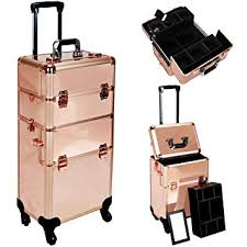 amazon hiker professional 3 in 1 rolling makeup case trolley beauty train case extendable trays rose gold beauty