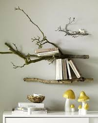 tree branches wall bookshelves