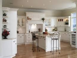 Kitchen:White French Country Kitchen Style With 3 White Chandelier Idea  White French Country Kitchen
