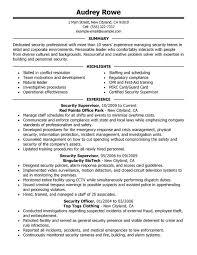 security supervisor resume sle