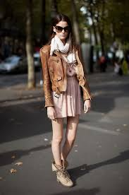 4 peach dress with leather jacket jpg