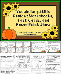 Vocabulary Skills Review: Task Cards, Worksheets, and PowerPoint ...
