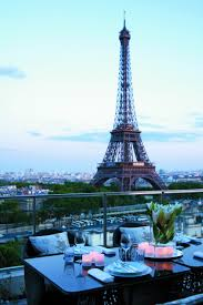 dining with eiffel tower view. view of the eiffel tower from shangri-la hotel, paris dining with