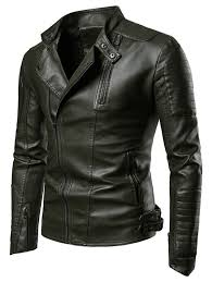 zippers embellished casual faux leather jacket army green xs