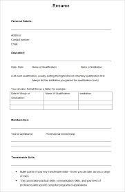 Resume Template Blank Form Blank Resume Templates Pdf Resume Cv Format Resume In Pdf Format