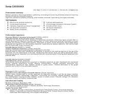Medical Technologist Resume Resume For Lab Technician Resume Samples