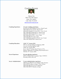 Free Coaching Resume Templates Great College Soccer Resume Template