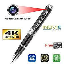 Time Recording Inovics Spy 4k Pen Camera With 1920px Hd Video Audio Recording 12 Mega Pixel Lens With 32 Gb Memory Card For Long Time Recording Hidden No Light