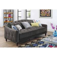 Dorel Home Novogratz Vintage Tufted Sofa Sleeper II Camelback Sofas For Sale H54