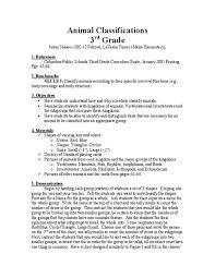 Animal Genus Chart Animal Classifications Lesson Plan For 3rd Grade Lesson Planet