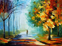 alone in the fog palette knife landscape oil painting on canvas by leonid afremov