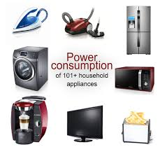 Home Appliance Energy Consumption Chart Power Consumption Of 101 Typical Household Appliances