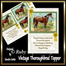 Vintage Thoroughbred Topper 0 45 Instant Card Making Downloads