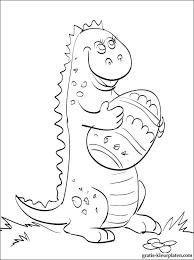 Kleurplaat Kleine Dinosaurus Met Paasei Gratis Kleurplaten