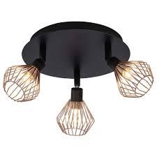 Landelijke Plafondlamp Jahleya Zwart Koper