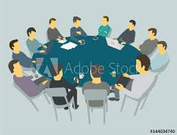 round big table talks team business people meeting conference many people
