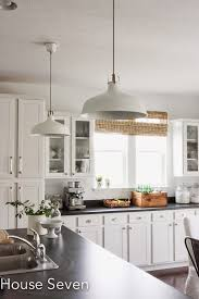 Image Cabinet Lights White Kitchen With Industrial Pendant Lights Eclecticallyvintagecom Pinterest Eclectic Home Tour House Seven Modern Mid Century Kitchen