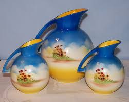 Decorative Pitchers Three Vintage Decorative Pitchers Blue and Yellow Made In Japan 82