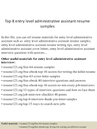 Entry Level Administrative Assistant Resume Samples Top 8 Entry Level Administrative Assistant Resume Samples