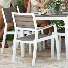 modern wood patio furniture. Contemporary Modern Keter Harmony IndoorOutdoor Stackable Patio Furniture Armchair Set Modern  Wood Style Finish  Throughout U