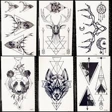 2453 руб 8 скидкагеометрический волк временная татуировка женский олень лось Horm