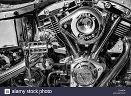 Motorcycle Engine Harley Davidson Custom Chopper, Black And White  C