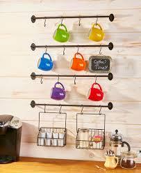 6 pc wall mounted coffee mug rack