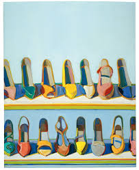 wayne thiebaud shoe rows 1975 oil on canvas 30 x 24 inches 76 2 x 61 cm collection of betty jean thiebaud art wayne thiebaud licensed by vaga