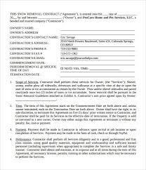 Snow Plowing Contract Template 5470