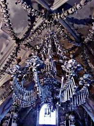 chandelier of bones in kutna hora czech republic