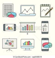 Statistics Symbols Chart Analysis Statistics Line Icons Chart Report And Service Signs Data And Presentation Symbols