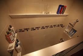 ceramic crown molding and shampoo shelves