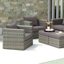 patio all weather wicker furniture resin wicker patio furniture table chairs cushions cups vases of