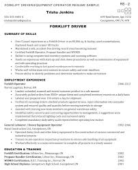 certified forklift operator sample resume full size of curriculum  vitaesample cover letter for truck driver .