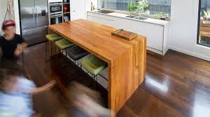 Wooden kitchen bench Diy Recycled Timber Bench Top With Double Waterfall Ends Birch Lane New And Recycled Timber Benchtops Timber Revival Melbourne
