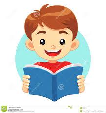 little boy reading a blue book