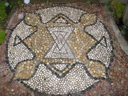 pebble floor mosaic design installation 2004 sitara morgenster entry way at the temple of original happiness 150 powderham street new plymouth