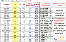 Us Size Chart To China Chinese Toddler Shoe Size Chart Effendi Throughout Chinese