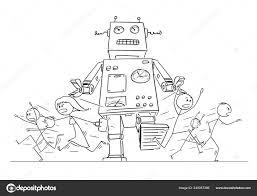 Comic Zeichnung Der Masse Der Menschen Laufen In Panik Vom Riesigen