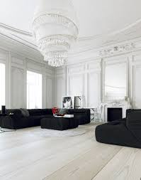 Parisian Apartment- living with large white chandelier and black ...