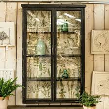 brookby black glass fronted wall cabinet