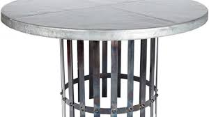 zinc top round dining table contemporary ashton iron with 54 hammered pertaining to 11