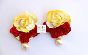Red Paper Flower Elegant Yellow Red Paper Flower Jewellery Set