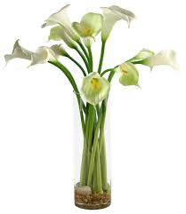 D&W Silks Calla Lilies in Tall Glass Vase contemporary-artificial-flower -arrangements