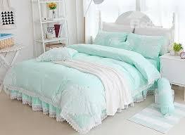 seafoam green comforter set princess style lace edging mint cotton 4 piece bedding sets 13