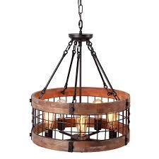 Decorative Hanging Light Fixtures Anmytek Round Wooden Pendant Lights Metal Lighting For