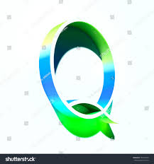 Letter Q of blue and green color with colorful abstract gradient shadow. 3d  render of