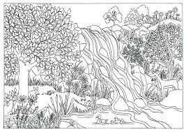 Printable Waterfall Nature Scene Coloring Page Coloring For Adults