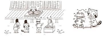 福岡あらいぐまラスカルと鳥獣戯画がコラボラスカルin鳥獣戯画の